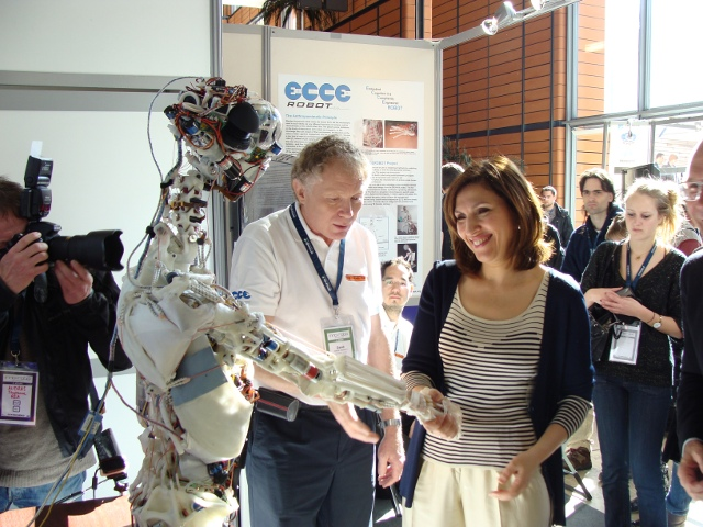 Dr. Nora Berra, MEP, the French Secretary of State for Health, meets ECCEROBOT at the Innorobo trade show, Lyon, 2011.
